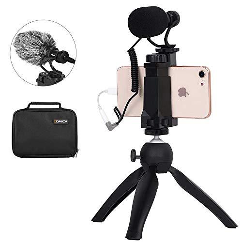 Comica CVM-VM10-K2 Smartphone Video Rig con cardioide Escopeta Direccional vídeo micrófono con Shock-Mount, Mango y Mini trípode para iPhone X/8/7 (Regular y Plus), Samsung Galaxy, Nota, etc.