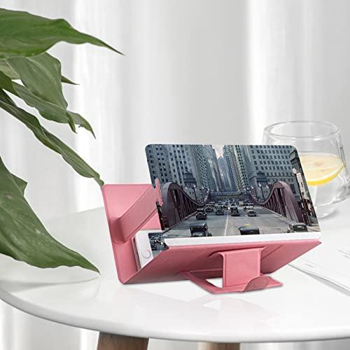 fasloyu 7,6 Zoll Bildschirmlupe mit Halterung für Handy HD-Vergrößerung Smartphone Verstärker zum Herausziehen mit Ständer für TV-Filme, Videos und Gaming-Vergrößerung, für Mobiltelefonen (Pink)