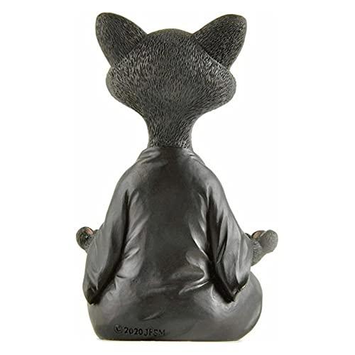 OCGDZ 2021 Whimsical Black Buddha Cat Figurine Meditación Yoga Coleccionable Caballero Feliz Cat Decoración Arte Esculturas Jardín Estatuas Decoración para el hogar (Color : 1)
