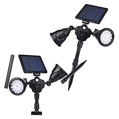 CYBERDAX Outdoor Solar Spotlights, Dual Head 36 LEDs 1000LM Transformer Robots Style for Wall Mounted or in Ground Shooting Lamp with PIR Motion Sensor for Garden Landscape Pathway (2 Pack)