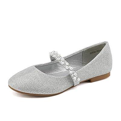 DREAM PAIRS Little Kid Serena-100-Silver Glitter Girl's Mary Jane Ballerina Flat Shoes - 2 M US Little Kid