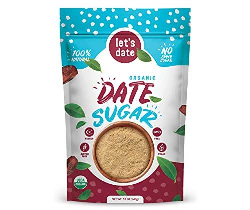 Let's Date | Organic Date Sugar | Excellent Sugar Substitute | Baking Sugar Alternative | Good Source of Fiber | Vegan | Paleo | Gluten Free | Kosher | Non- GMO | Natural Sweetener (12oz (Pack of 1)