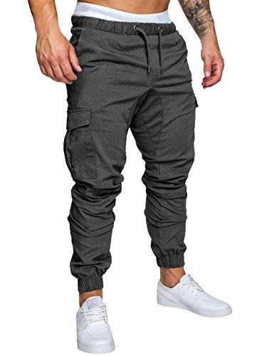 Cindeyar Herren Hose Cargo Chino Jeans Stretch Jogger Sporthose Slim-Fit Freizeithose, M, Dunkelgrau