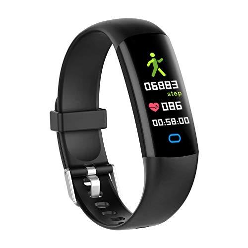 BingoFit Kids Fitness Tracker Watch with Heart Rate Monitor, Swimproof Kids Activity Tracker Pedometer Watch, Slim Sport Fitness Watch with Sleep Monitor, Calorie Counter for Kids Women Men (Black)