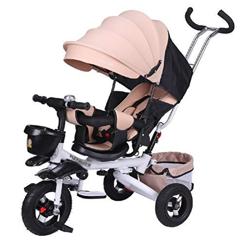Triciclo Para Niños 4 En 1, Evolutivo Plegable para Bebés con Asiento Giratorio De 360 ° Y Respaldo Reclinable, Niños De 1 A 6 Años