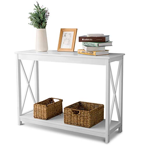 Leisure Zone Console Table Side End Table Shelf Storage Wooden Entryway Table for Living Room,Hallway,Bedroom(white)