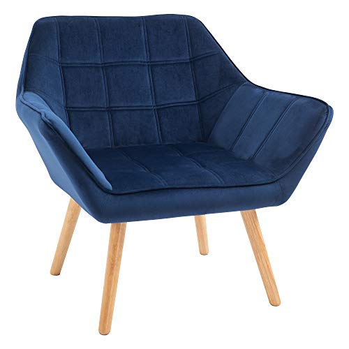 HOMCOM Armchair Accent Chair Wide Arms Slanted Back Padding Iron Frame Wooden Legs Home Bedroom Furniture Seating Blue