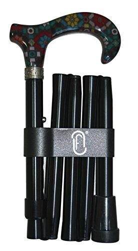 Finna Stars - Bastón plegable y regulable de aluminio con puño de metacrilato con tela 🔥