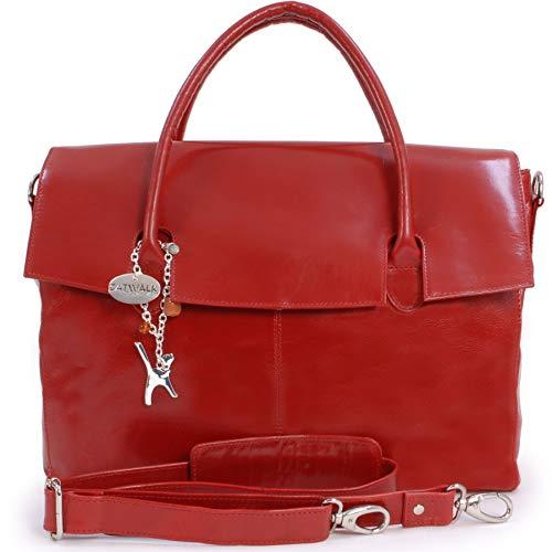 Catwalk Collection Handbags - Leder - Übergroße Laptoptasche Schultasche/Organizer/Arbeitstasche/Aktentasche für Damen - Laptop/iPad - Handtasche mit Schultergurt - HELENA - Rot