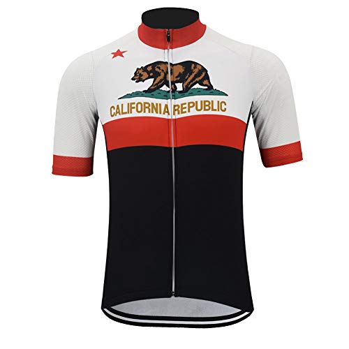 OUTDOORGOODSTORE Men's Cycling Jersey Bike Short Sleeve Shirt California Republic, 3XL-(Chest 48