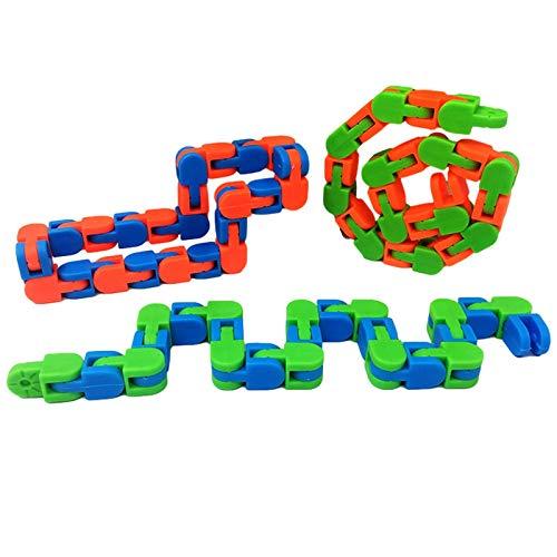 2PCS Wacky Tracks, Links Wacky Tracks Snap And Click Fidget Toys, Chain Track Alivio Del Estrés Juguete Sensorial Snap, Snake Puzzles Fidget Finger Sensory Toys
