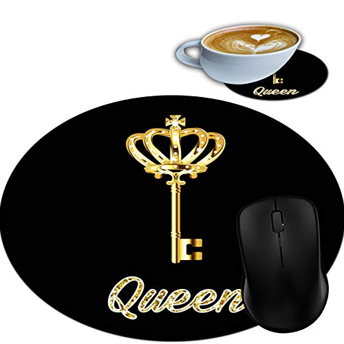 Gaming Mouse Pad, Round Mouse Mat, Non-Slip Rubber Base Desktop Mousepad and Coaster Set, Small Size 7.9 x 7.9 x 0.1 Inch- Queen Key