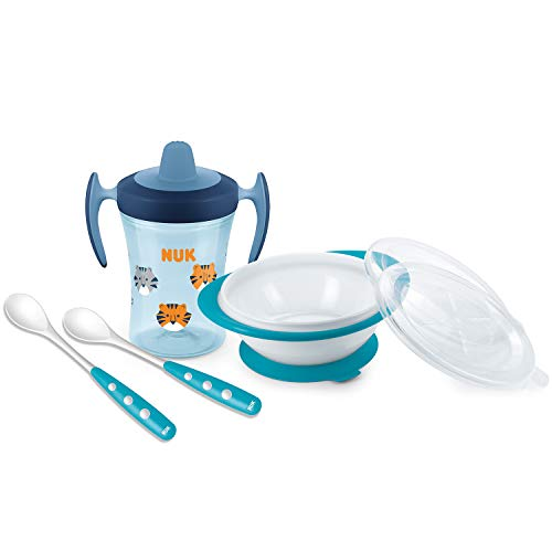 NUK Esslern-Set mit Trainer Cup Trinklernbecher, Esslernschüssel und löffeln, 6+ Monate, Geschenkbox, blau (boy)