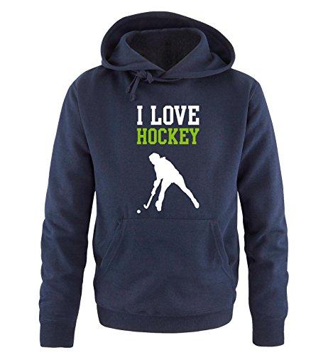 Comedy Shirts I Love Hockey - Herren Hoodie - Navy/Weiss-Grün Gr. S