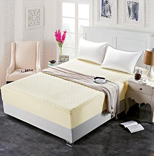 XGguo Protector de colchón - Protector de colchón antialérgico Sábana de Hotel de una Sola Pieza de algodón Engrosamiento-Beige_100 * 200cm