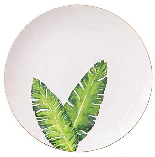 APcjerp Plate Plat en céramique os Chine Vaisselle en Porcelaine Plantes Tropicales Motif dîner Assiettes Salade Dessert Plat Plateau Vaisselle Hslywan