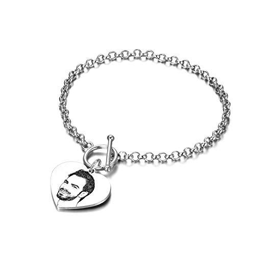 LONAGO 925 Sterling Silver Personalised Photo Bracelet Custom Engraved Picture Bracelet for Women Men (Heart)