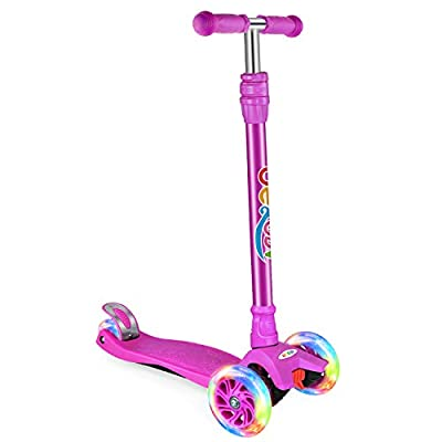 BELEEV Kick Scooter for Kids 3 Wheel Scooter for Toddlers Girls & Boys, 3 Adjustable Height, Lean to Steer with PU LED Light Up Wheels for Children from 3 to 12 Years Old (Purple)