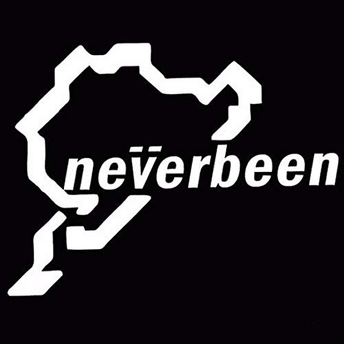 SUIFENG Car Stickers 14CMx10.7CM Neverbeen Sticker Decal Vinyl JDM Euro Nurburgring Funny Reflective Car Stickers and Decals for Black Sliver