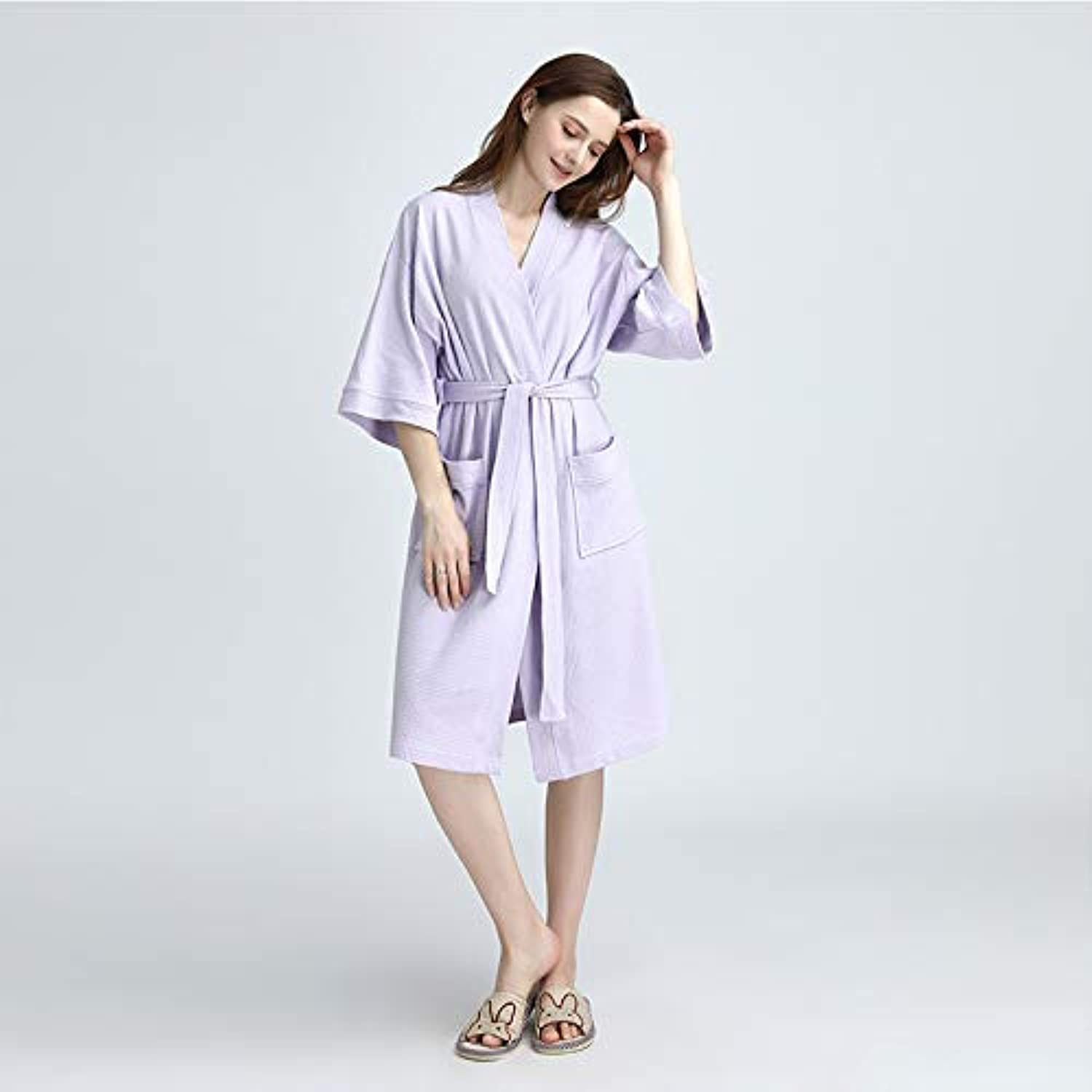 DALAI Summer Pajamas Women's Thin Cardigan Nightgowns Cotton Casual Comfort Bathrobes (color   Purple, Size   M) (color   Purple, Size   M)