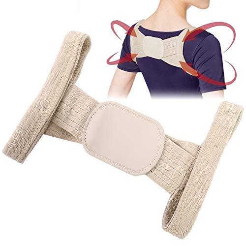 Corrector de postura de hombro y espalda, para hombres, mujeres, niños, transpirable, ajustable, alisa los hombros cómodos, reduce el dolor de cuello y hombros (S beige)