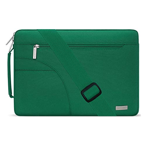 MOSISO Laptop Shoulder Bag Compatible with MacBook Pro Air 13 inch, 13-13.3 inch Notebook Computer, Polyester Briefcase Sleeve with Side Handle, Peacock Green
