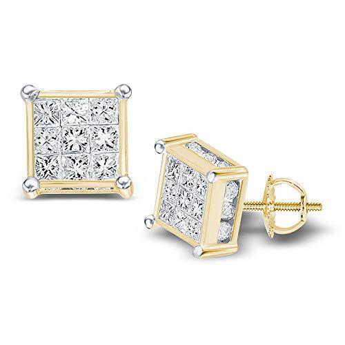 Jewels By Lux Pendientes de tuerca de oro amarillo de 14 quilates para mujer, diseño de princesa, cuadrados, 3/4 quilates en ajuste invisible (claridad I1-I2; color H-I)