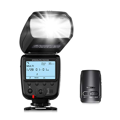 Powerextra Blitzgerät mit LCD Anzeige und 2.4G Wireless Flash Trigger Transmitter Kit für Canon Nikon Pentax Panasonic Olympus und Sony DSLR Kamera, Digital Kameras mit Standard Hot Shoe