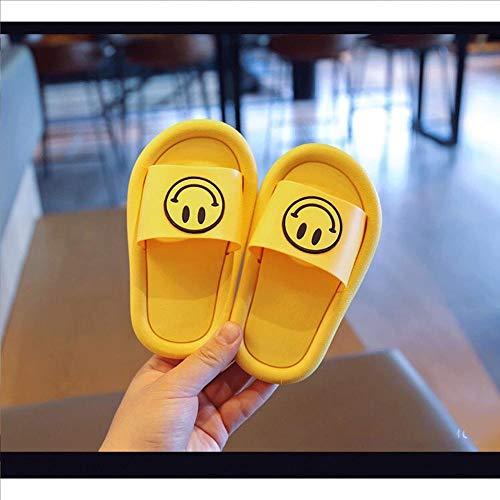 OUGEA Smiley Children's Slippers Summer Home Interior Baño Draghant Baby Sandals Slippers-Amarillo Sonriente_26-27 (Menos de un tamaño)