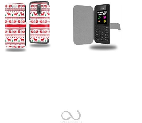 Christmas Pattern Collection Pattern Custodia Pelle Ultra Slim per Nokia 130 smartphone - Flip Case Funda Cover protettiva Nokia 130 PU Pelle - CASE Industry accessori