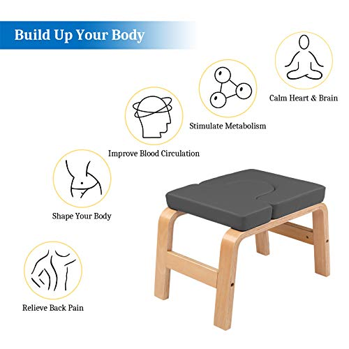 PEXMOR Wood Yoga Headstand Bench Inversion Chair Stand Yoga Chair for Workout, Fitness and Gym (Gray)