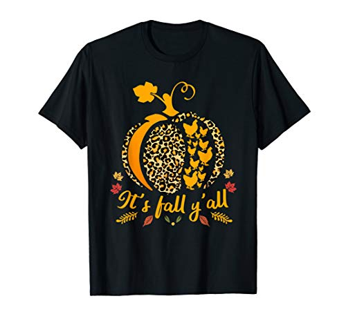 It's Fall Y'all Pumpkin Leopard Print Chicken Silhouette T-Shirt