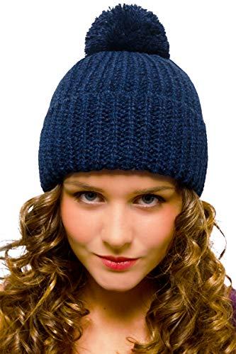 Blaue Bommelmütze Damenmütze Herrenmütze Winter Wolle Warm Blau - Mütze mit Bommel Damen Herren - Strickmütze Beanie Frauen Männer Mädchen Jungen Jugendliche - Grobstrick Wintermütze Snowboardmütze W