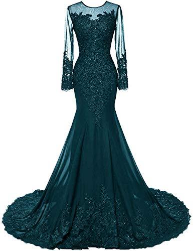 HUINI Abendkleider Lang Meerjungfrau Brautkleider Hochzeitskleid Chiffon Ballkleider Langarm Festkleid Mit Schleppe Tintenblau 50