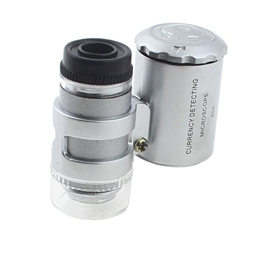 uxcell LED Light Currency Detecting Jeweler Magnifier Loupe Microscope 60X