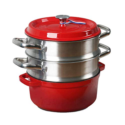 ECSWP Vapor de Hierro Fundido del Esmalte crisol de la Sopa Espesada Pot hogar Esmalte Olla Olla Olla de Cocina de inducción (Color : B)