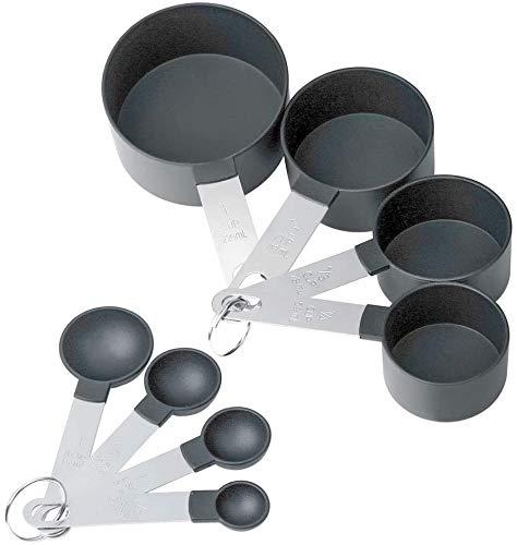 8-teiliges Messlöffel-Set, Messbecher und Löffel, Edelstahlgriff und Kunststoff-Messbecher Löffel mit Metallgriffen für Flüssigkeiten und Feststoffe zum Kochen & Backen