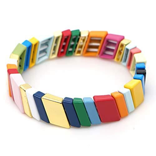 KANYEE Bunte Colorblock Stripe Stretch Armband Breite Emaille Fliese Perlen Armreif Schmuck Geburtstag für Frauen