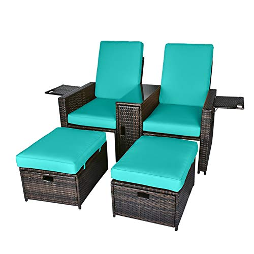 5PCS Outdoor Wicker Chaise Lounge Chair - Rattan Adjustable Reclining Patio Lounge Chair with Ottoman and Coffee Table, for Patio Beach Pool Backyard (Brown Wicker Turquoise Cushion)