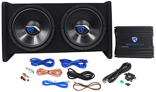 "Rockville RV12.2B 1200W Dual 12"" Car Subwoofer Enclosure+Mono Amplifier+Amp Kit"