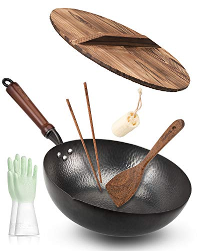 Bielmeier Wok Pan 12.5', Woks and Stir Fry Pans with lid, Carbon Steel Wok with Gloves & Cookware Accessories, Wok with Lid Suits for all Stoves(Flat Bottom Wok)