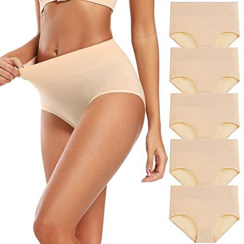 Molasus Women's Cotton Underwear Briefs High Waisted Postpartum Panties Ladies Full Coverage Underpants Nude,Size Medium