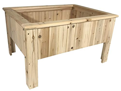 Boldly Growing Wooden Raised Garden Planter Box Kit Outdoor Elevated Bed Patio Vegetable/Flower/Herb Gardening, Natural Rot-Resistant Wood