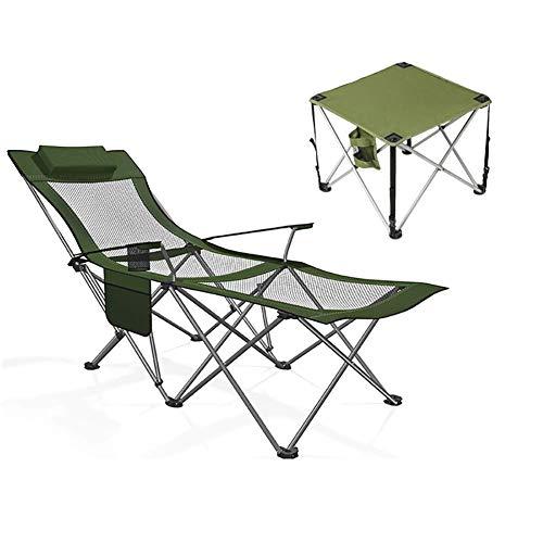 YLCJ Reclining opvouwbare outdoor campingstoelen, draagbare visstoelen met tafel, comfortabel en ademend