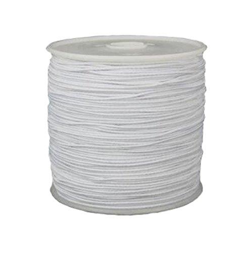 0.8mm Prayer Beads Elastic Thread - 109 Yard - Core-Spun Elastic Cord for DIY Hand Knitting Beads String Rope Buddha Beads (White)