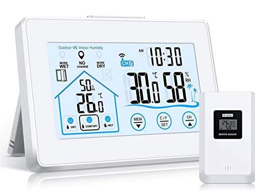 Wetterstation Funk mit Außensensor, Digital Thermometer Hygrometer Innen und Außen Raumthermometer Hydrometer Feuchtigkeit mit Wettervorhersage, Uhrzeitanzeige, Wecker und Nachtlicht-Weiß