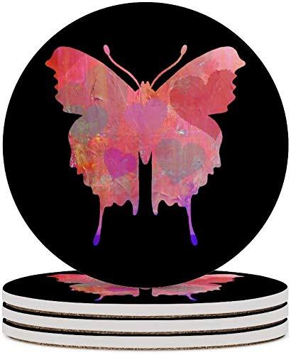 MZD - Sottobicchieri per tè e farfalle, per occhiali, colore: Rosa