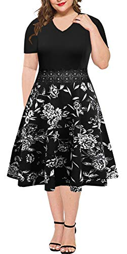 BEDOAR Women's Floral Lace Embroidery Plus Size Swing Casual Cocktail Party Dress(B013Black White Floral-24W)