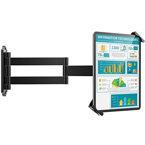 AboveTEK Soporte de pared para tablet – Se adapta a tabletas de 7 a 11 pulgadas, incluyendo iPad, Galaxy Tab, pizarra, Fire y más – Bloqueo de seguridad antirrobo y llave – Soporte giratorio articulado de brazo largo ajustable (negro)