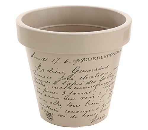 Dehner Blumentopf Letter, Ø 40 cm, Höhe 35 cm, Kunststoff, taupe